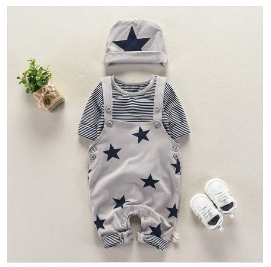 3-piece set, T-shirt, trousers and cap with star motif