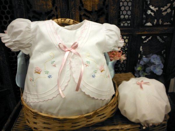 00615 Niedliches Baby Set in weiß-rosa