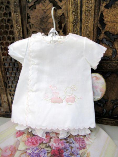 08667 Ensemble de bébé lapin rose blanc