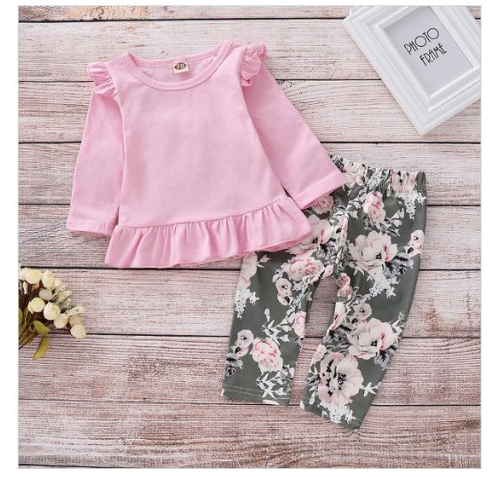 Ruffle shirt with floral pants