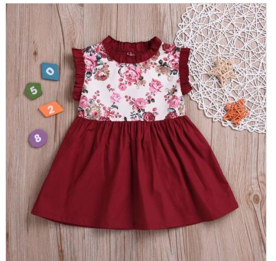 Ruffle Floral Sleeveless Crimson Dress