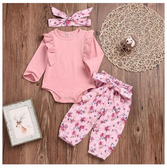 3-piece set, ruffled bodysuit, trousers, floral patterned headband