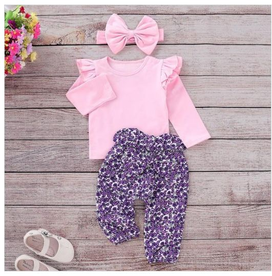 3-piece set, ruffled shirt, pants, headband with floral pattern