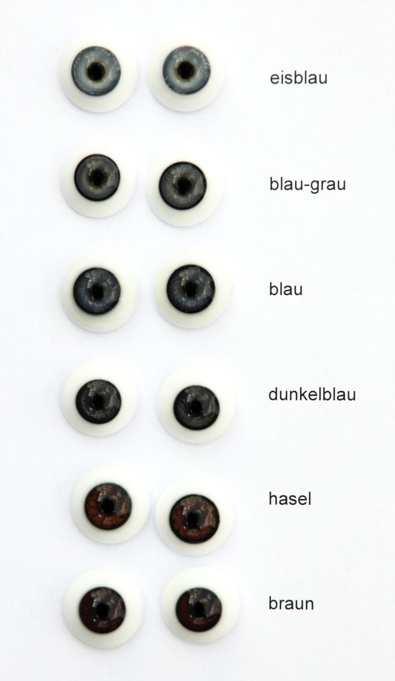 Reborn blau Glasaugen  Gr.16 mm